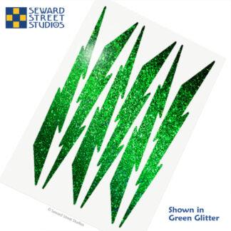 674 Seward Street Studios holographic green glitter lightning decal set