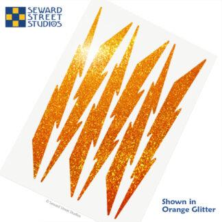 674 Seward Street Studios holographic orange glitter lightning decal set