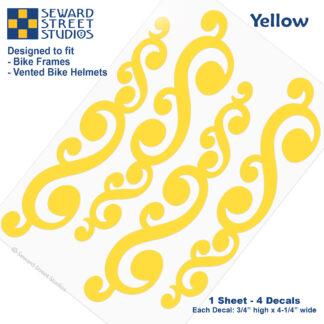 810 Yellow Vintage Swirls Decal Set by Seward Street Studios