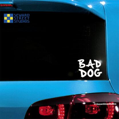 1118-Seward Street Studios bad dog vinyl decal on a car