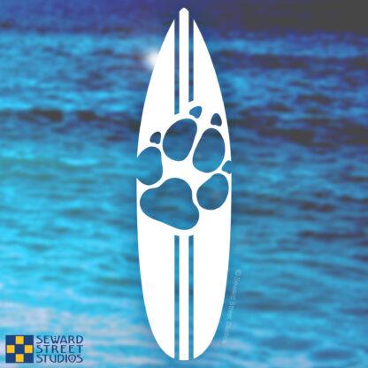 1175 Seward Street Studios Dog Print Surfboard decal on a water background