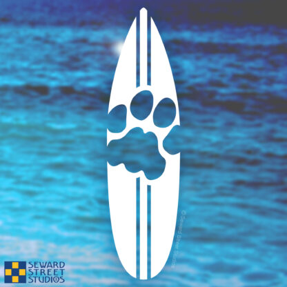 1176 Seward Street Studios Cat Print Surfboard decal on a water background