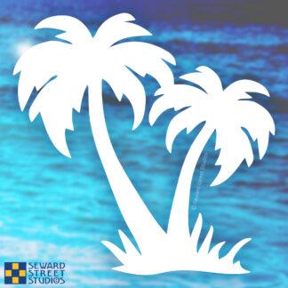 1186 Seward Street Studios palm trees decal shown on an ocean background