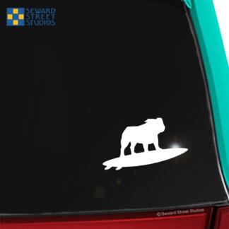 1266 Seward Street Studios Surfboard Bulldog Decal. Shown on a car