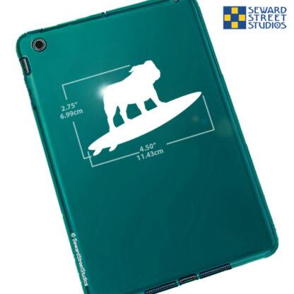 1266 Seward Street Studios Surfboard Bulldog Decal. Shown on a tablet with dimensions