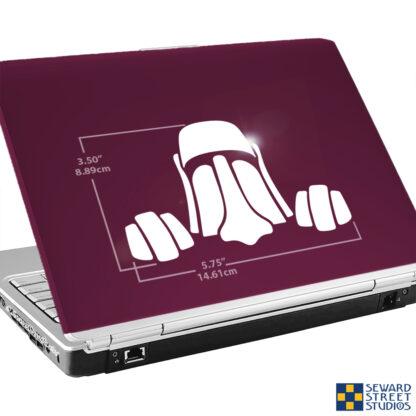 1289 Seward Street Studios Peeky Tiki Moai Easter Island Head vinyl decal shown on a laptop with dimensions
