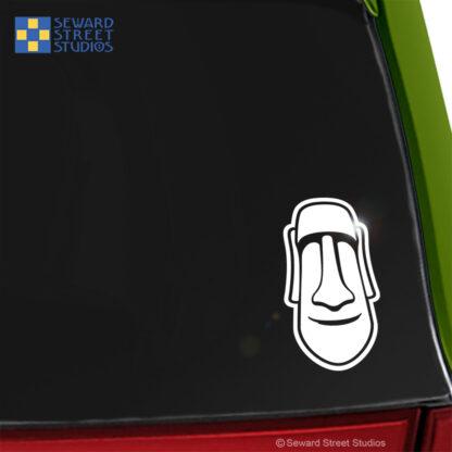 1215 Seward Street Studios moai Easter Island Head vinyl decal shown on a car