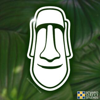 1215 Seward Street Studios moai Easter Island Head vinyl decal shown on a leaves background