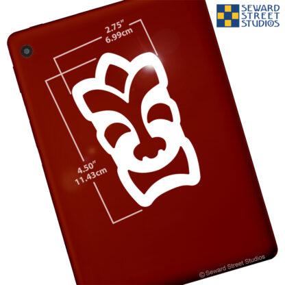 1291 Seward Street Studios Happy Tiki Head vinyl decal shown on a tablet with dimensions