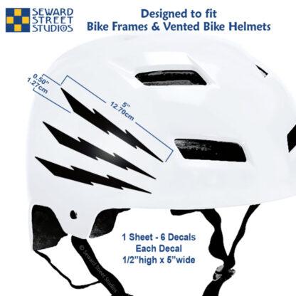674 Seward Street Studios black lightning decal set shown on a white bike helmet with dimensions