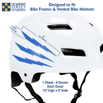 674 Seward Street Studios reflective blue lightning decal set shown on a white helmet with dimensions