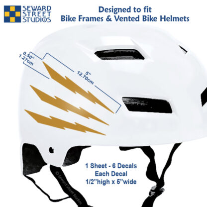 674 Seward Street Studios reflective gold lightning decal set shown on a white helmet with dimensions