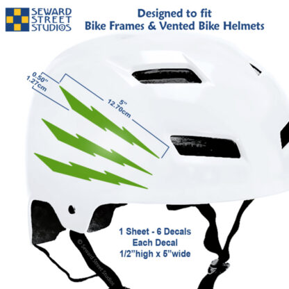 674 Seward Street Studios reflective green lightning decal set shown on a white helmet with dimensions