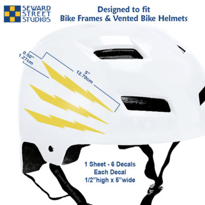 674 Seward Street Studios reflective yellow lightning decal set shown on a white helmet with dimensions