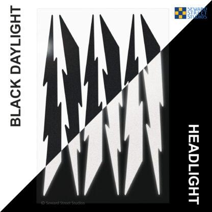 674 Seward Street Studios reflective black lightning decal set shown in both daylight and at night under headlights