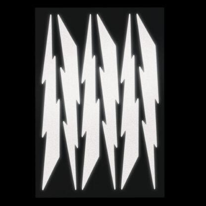 674 Seward Street Studios reflective black lightning decal set shown at night under headlights