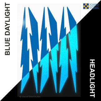 674 Seward Street Studios reflective blue lightning decal set shown in both daylight and at night under headlights