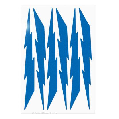 674 Seward Street Studios reflective blue lightning decal set shown in daylight