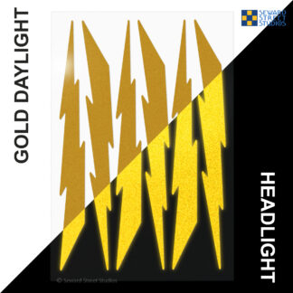 674 Seward Street Studios reflective gold lightning decal set shown in both daylight and at night under headlights