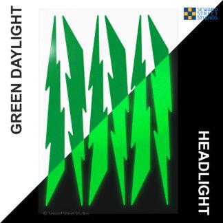 674 Seward Street Studios reflective green lightning decal set shown in both daylight and at night under headlights
