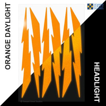 674 Seward Street Studios reflective orange lightning decal set shown in both daylight and at night under headlights