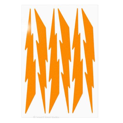674 Seward Street Studios reflective orange lightning decal set shown in daylight