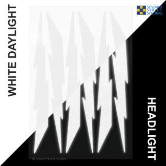 674 Seward Street Studios reflective white lightning decal set shown in both daylight and at night under headlights