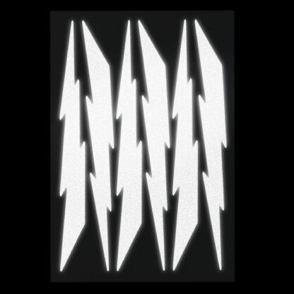 674 Seward Street Studios reflective white lightning decal set shown at night under headlights