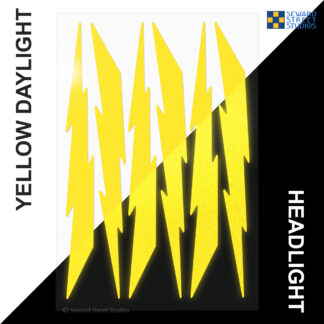 674 Seward Street Studios reflective yellow lightning decal set shown in both daylight and at night under headlights