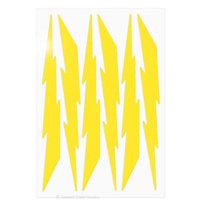 674 Seward Street Studios reflective yellow lightning decal set shown in daylight