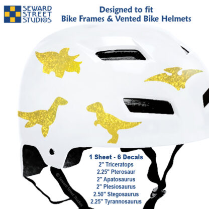 886 Seward Street Studios holographic glitter gold dinosaur decal set shown on a white helmet with sizes