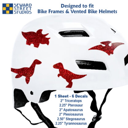886 Seward Street Studios holographic glitter red dinosaur decal set shown on a white helmet with sizes