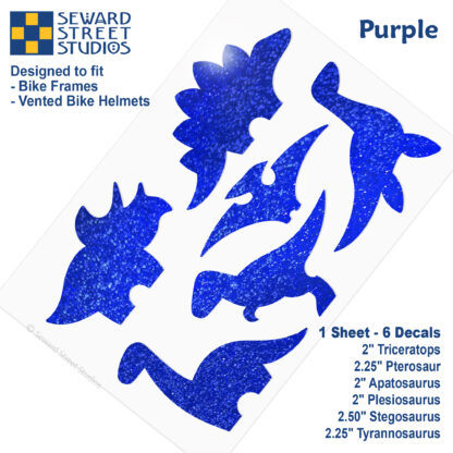 886 Seward Street Studios holographic glitter Purple dinosaur decal set