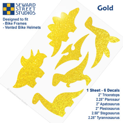 886 Seward Street Studios holographic glitter gold dinosaur decal set