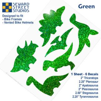 886 Seward Street Studios holographic glitter green dinosaur decal set