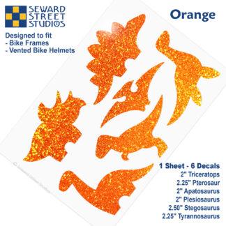 886 Seward Street Studios holographic glitter orange dinosaur decal set