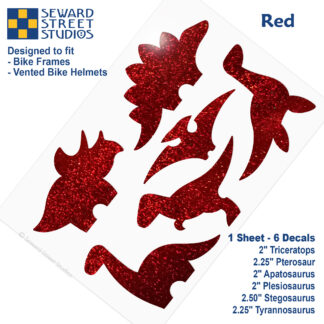 886 Seward Street Studios holographic glitter Red dinosaur decal set
