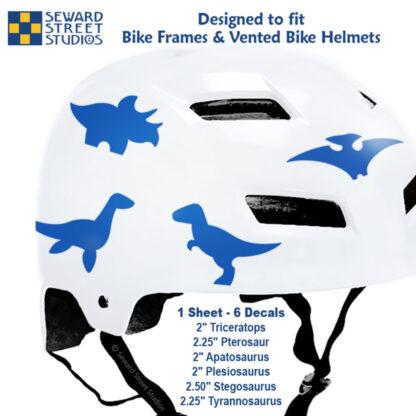 886 Seward Street Studios blue dinosaur decal set shown on a white bike helmet with sizes