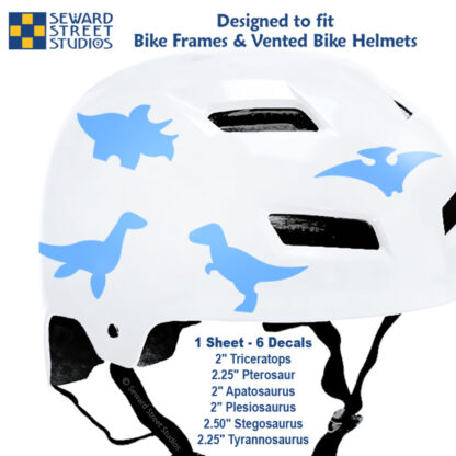 886 Seward Street Studios light blue dinosaur decal set shown on a white bike helmet with sizes