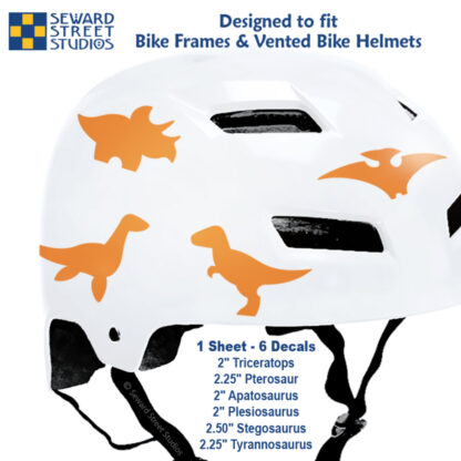 886 Seward Street Studios orange dinosaur decal set shown on a white bike helmet with sizes