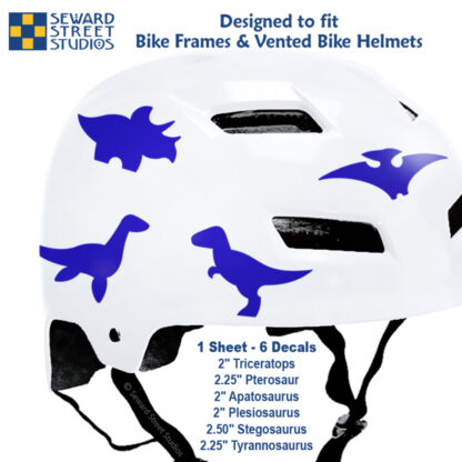 886 Seward Street Studios purple dinosaur decal set shown on a white bike helmet with sizes
