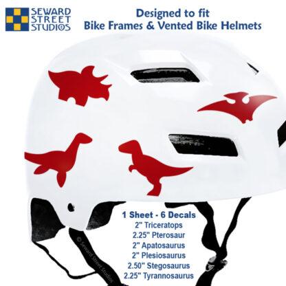 886 Seward Street Studios red dinosaur decal set shown on a white bike helmet with sizes