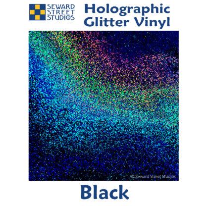 black holographic glitter vinyl option