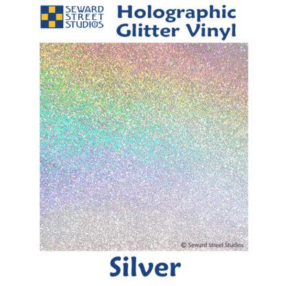 silver holographic glitter vinyl option